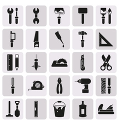 Working tools icon set on button vector image
