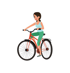 young smiling woman cycling her bike active vector image