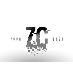 Zc z c pixel letter logo with digital shattered vector