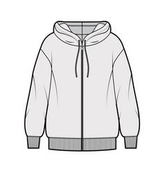 zip-up oversized cotton-fleece hoodie technical vector image