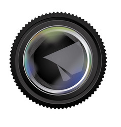 black camera lens little open icon vector image