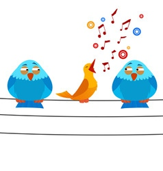 cartoon bird sitting on wire with sing one vector image vector image