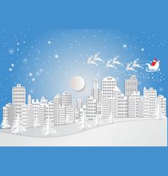 City for christmas season with snowflake and vector
