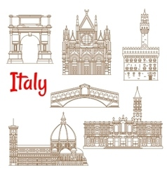 Symbolic landmarks of Italy linear symbols vector image