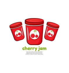 Template logo for cherry jam vector