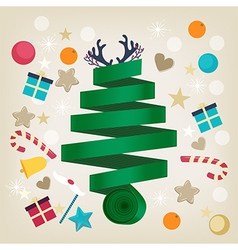 Twirled ribbon Christmas tree card design vector image vector image