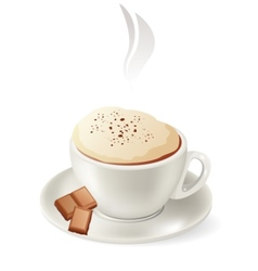 cup of hot cappuccino vector image vector image