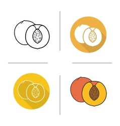 Peach flat design linear and color icons set vector image vector image