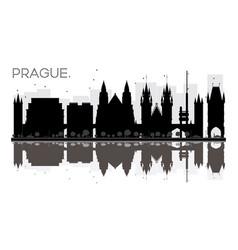 prague city skyline black and white silhouette vector image