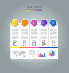 timeline infographic business concept with 5 vector image vector image
