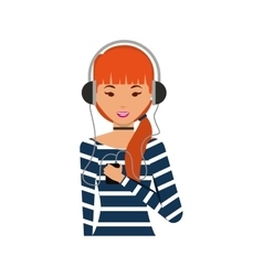 young woman with headset character vector image vector image