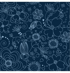 dark blue floral seamless pattern vector image vector image