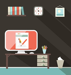 Flat Design Retro Office Room vector image