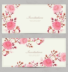 lovely floral invitation cards for your design vector image vector image