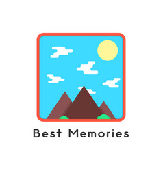 magnet like photoframe with mountains vector image