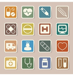 Medical sticker icons set eps 10 vector image vector image