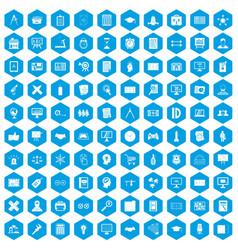 100 plan icons set blue vector