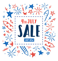 4th of july sale independence day flyer vector