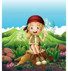 A cute female explorer sitting above the stump vector