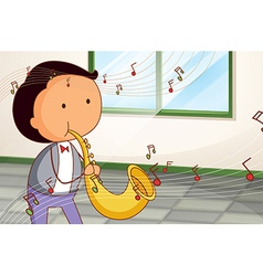 A man playing a saxophone vector image