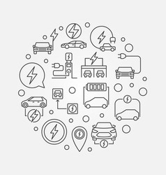 all-electric car round outline vector image