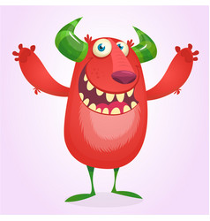angry cartoon furry monster vector image
