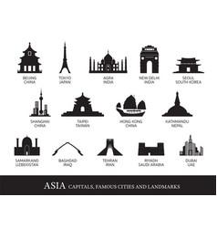 asia cities landmarks silhouette vector image