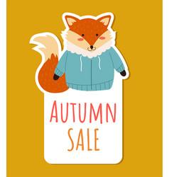 autumn forest animal fox discount sale sticker vector image