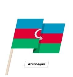 Azerbaijan ribbon waving flag isolated on white vector