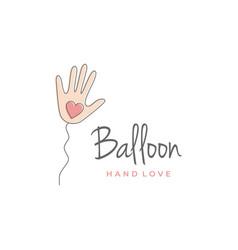 Balloon hand with heart hand shaped logo vector