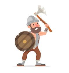 barbarian viking northerner axe sheld fantasy vector image