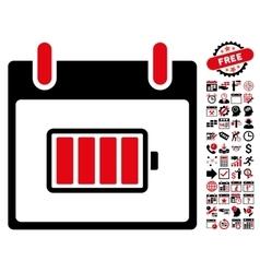 Battery Calendar Day Flat Icon With Bonus vector image