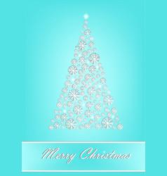 beautiful white snowflake christmas tree on the vector image