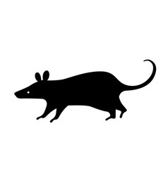 Black rat silhouette vector