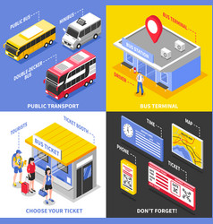 bus terminal isometric design concept vector image