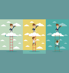 businessman standing on a ladder going throught vector image
