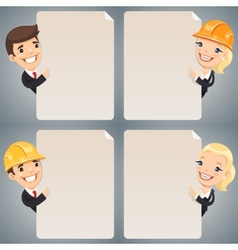 Businessmen Cartoon Characters Looking at Blank vector image
