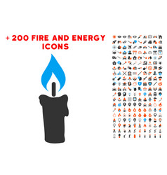 candle icon with bonus power set vector image