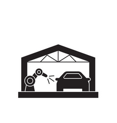 car assembly line black concept icon car vector image