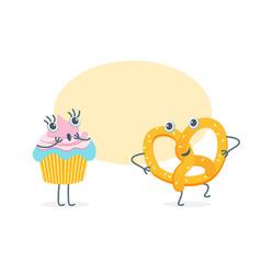 cartoon funny bakery characters vector image