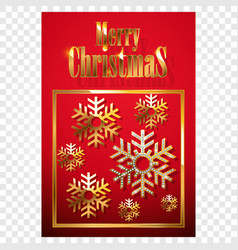christmas card or invitation with golden vector image