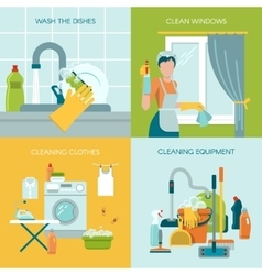 Colored cleaning icons set vector
