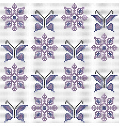 cross stitch traditional embroidery with vector image
