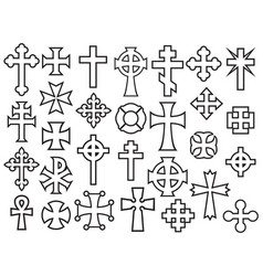 Crosses thin line collection icons vector