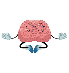 Cute brain meditating cartoon vector