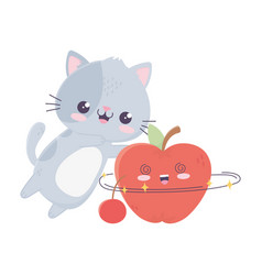 Cute little cat with apple and cherry kawaii vector