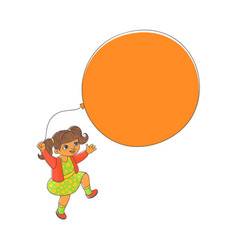 cute little girl playing with big balloon vector image