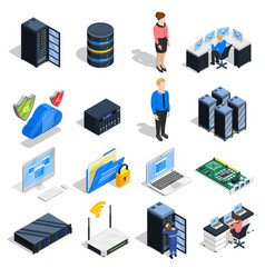 Datacenter elements icon set vector