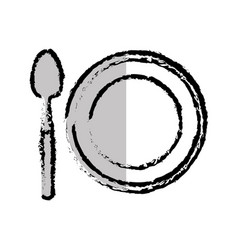 Dish and spoon isolated icon vector