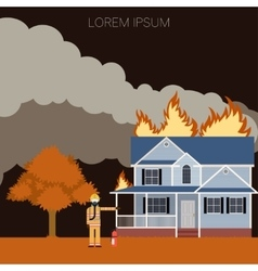 fireman and a fire in house vector image